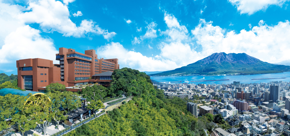 From 108 m above sea level, look out over majestic Kinko Bay and Kagoshima City located next to Sakurajima, one of the world's most active volcanoes